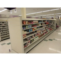 Lot 34 - LOZIER GONDOLA SHELVING 24FT RUN W/3FT END CAP - BY THE FOOT