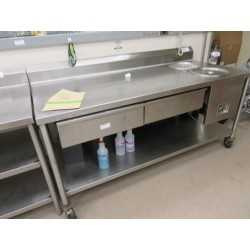 Lot 215 - 6FT S/STEEL TABLE W/2 HOT WELLS