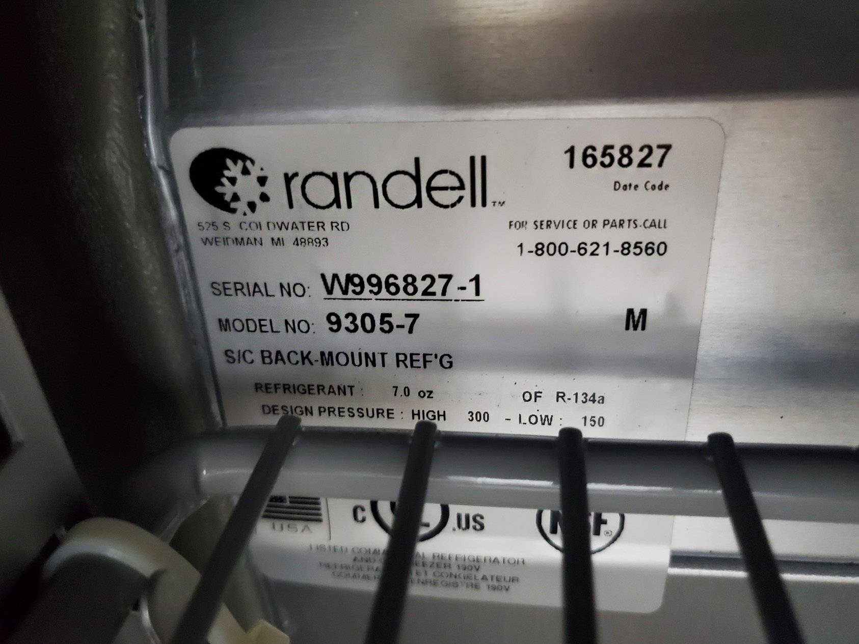 "RANDELL 9305 -7 48"" STAINLESS TEEL REFRIGERATED SANDWICH / SALAD TOP PREP TABLE"