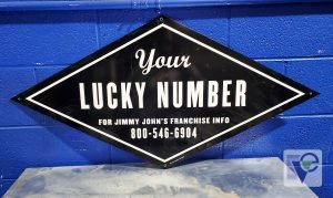 JIMMY JOHN'S AUTHENTIC BLACK & WHITE RESTAURANT METAL TIN SIGN 40X20