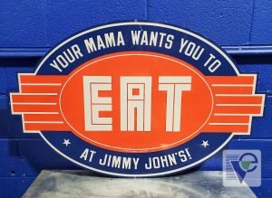 JIMMY JOHN'S AUTHENTIC BLUE & ORANGE RESTAURANT METAL TIN SIGN 42x26