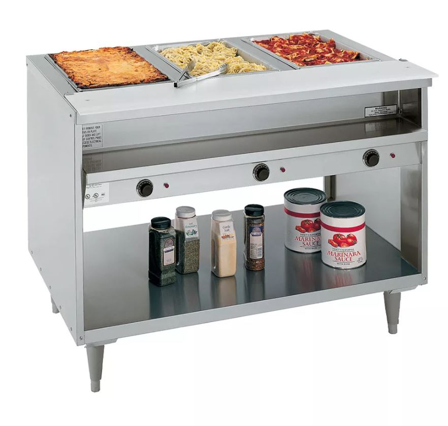 "RANDELL 3513 -240 48"" STAINLESS STEEL HOT FOOD TABLE W/ 3 WELLS & CUTTING BOARD"